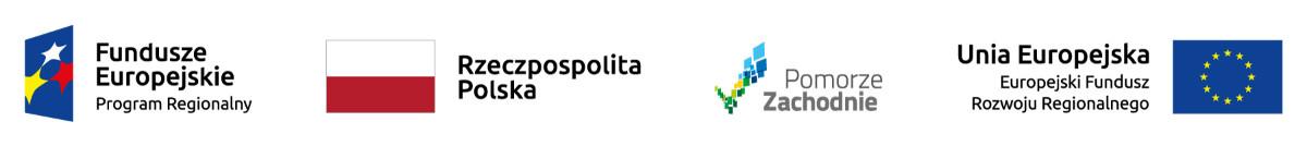 Logotypy: Fundusze Europejskie, Polska, Pomorze Zachodnie, Unia Europejska