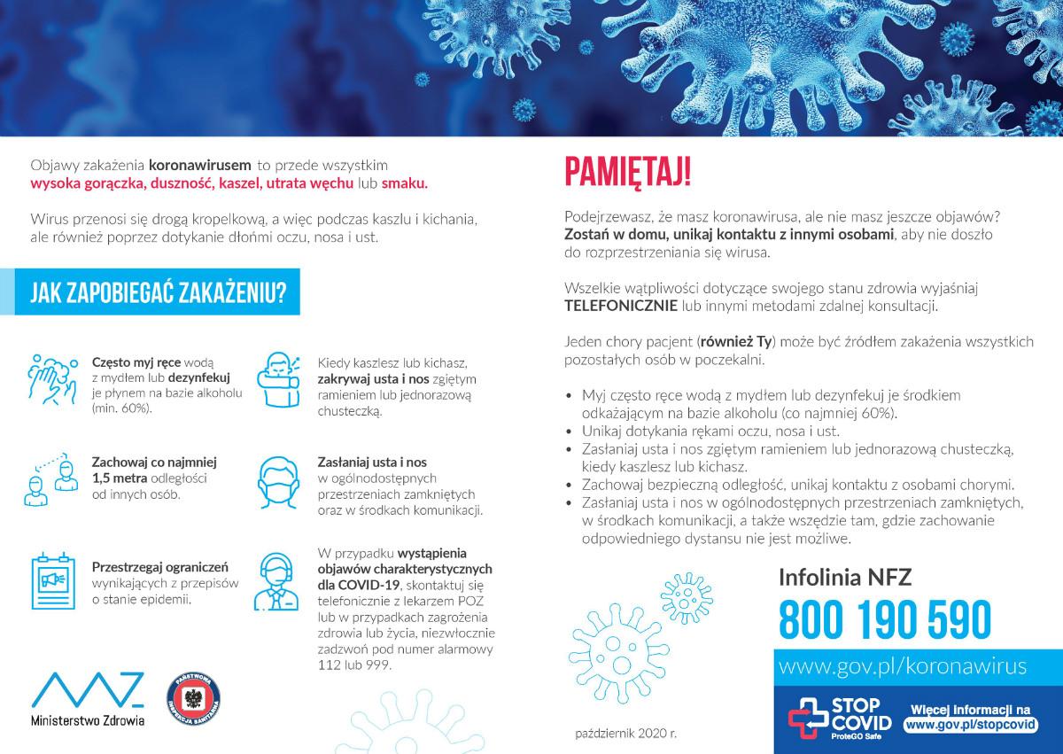 Plakat Ministerstwa Zdrowia Jak zapobiegać zakażeniu? aktualne informacje na temat koronawirusa - paździrnik 2020