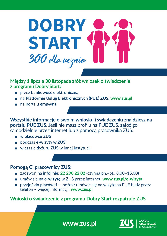 Plakat informacyjny akcji pomocy pracowników ZUS w przygotowywaniu wniosków przez mieszkańców