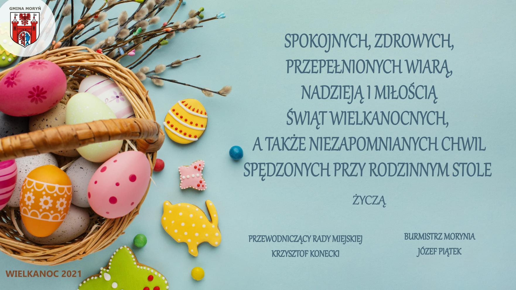 życzenia wielkanocne, koszyczek z jajkami na niebieskim tle i treść życzeń